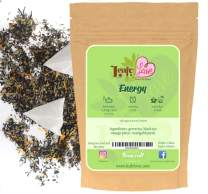 Herbal Energy Tea with caffeine, Natural Energy Boost for Faster Metabolism, Mix Of Black Tea and Green Tea with Real Mango Pieces, Calendula Flowers, 16 Biodegradable Tea Bags