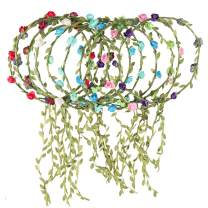 Rocutus 10pcs Bohemian Flower Crown Floral Wreath Garland Headbands for Women