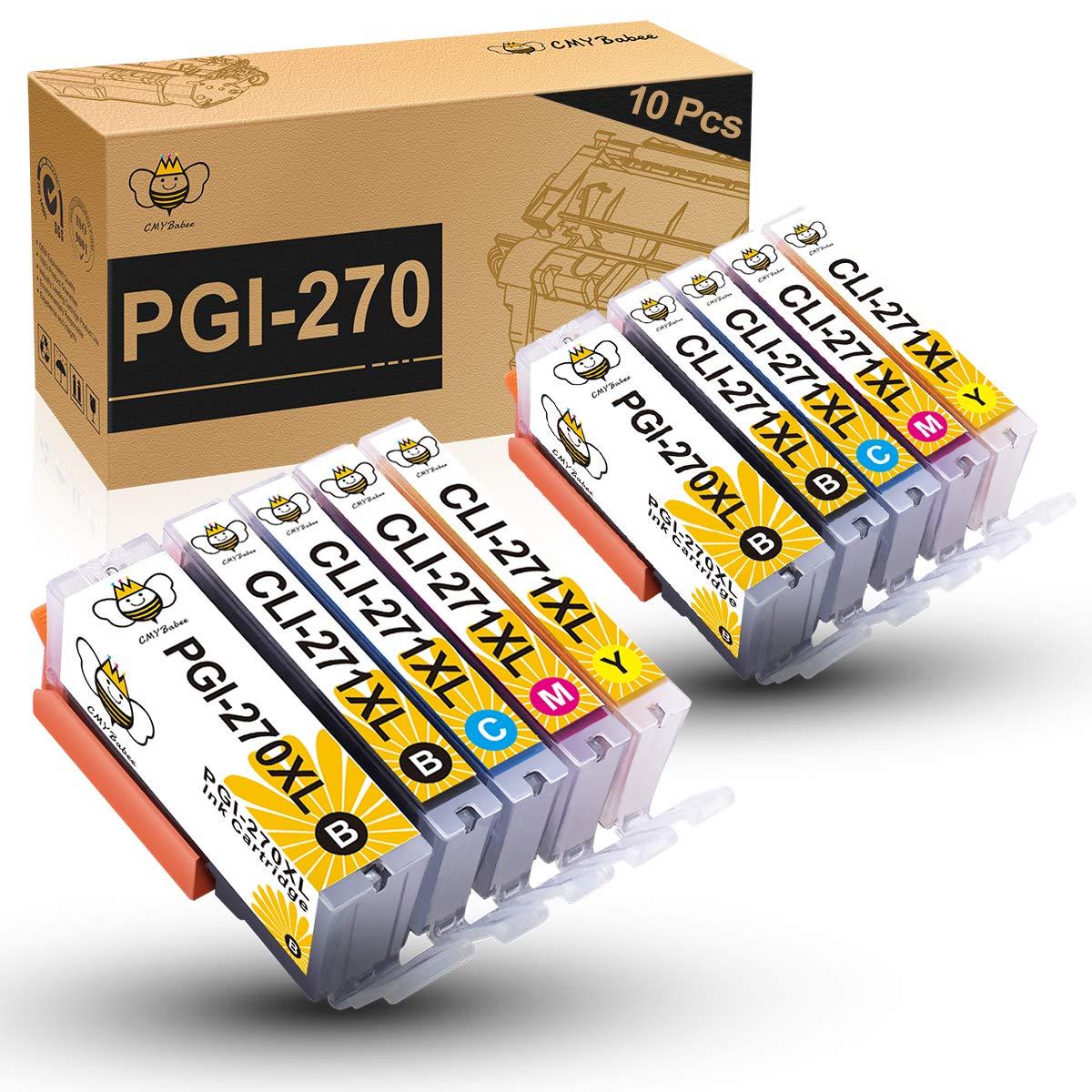 CMYBabee Compatible Ink Cartridge Replacement for Canon PGI-270XL CLI-271XL PGI 270 XL CLI 271XL for PIXMA MG6820 MG5720 MG6821 MG5722 TS9020 Printer (2PB,2BK,2C,2Y,2M,10-Pack)