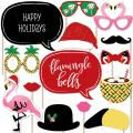 Big Dot of Happiness Flamingle Bells - Tropical Flamingo Christmas Party Photo Booth Props Kit - 20 Count