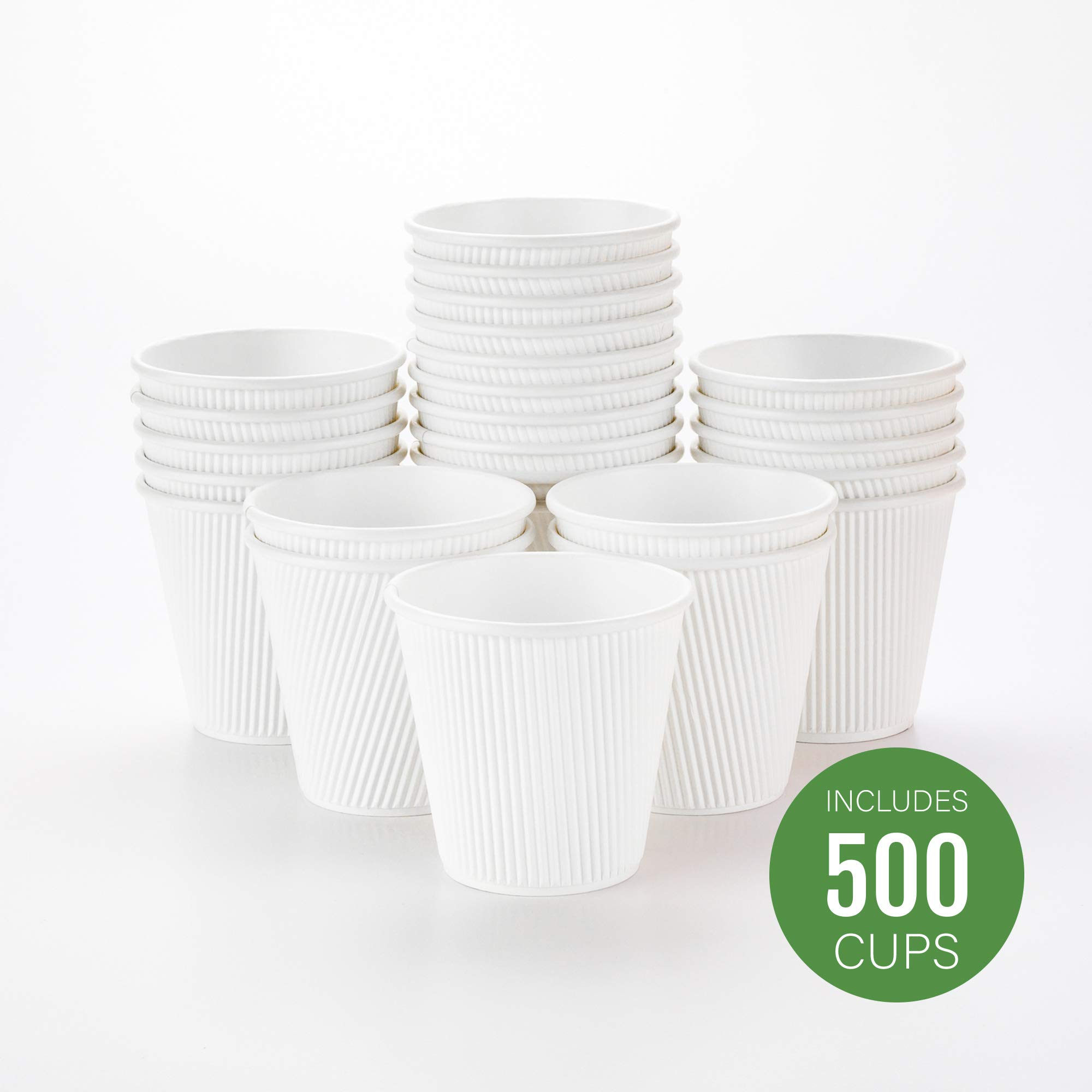 500-CT Disposable White 8-OZ Hot Beverage Cups with Ripple Wall Design: No Need for Sleeves - Perfect for Cafes - Eco-Friendly Recyclable Paper - Insulated - Wholesale Takeout Coffee Cup