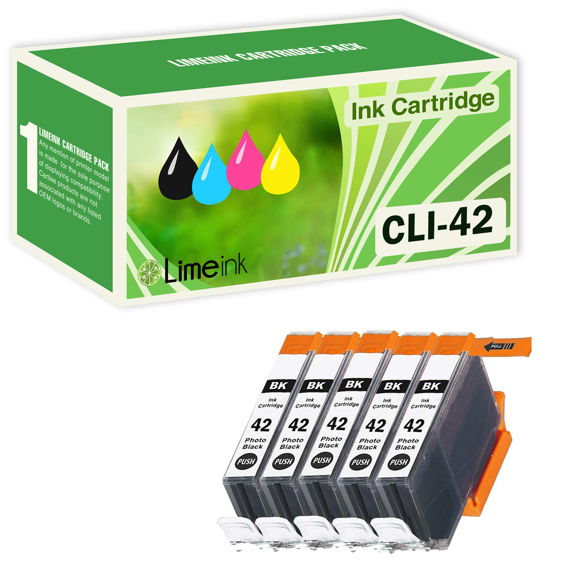 Limeink 5 Black Compatible High Yield Ink Cartridges Replacement for CLI-42 for Canon PIXMA PRO-100 100 100S CLI 42 Pro100