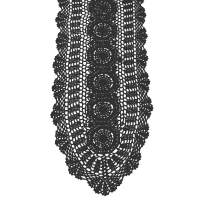 KEPSWET 100% Cotton Handmade Crochet Lace Oval Table Runner Black 12x36 Inch