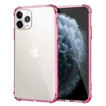 MoKo Compatible with iPhone 11 Pro Case, Reinforced Corners TPU Bumper + Anti-Scratch Anti-Yellow Transparent Hard Panel Cover Fit iPhone 11 Pro 5.8 inch 2019 - Clear Pink