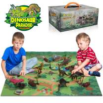Anpro Dinosaur Play Set, Dinosaur Toys Includes Dinosaur Figures, 50pcs Dinosaur Stickers, Trees, Rocks, PlayMat, and A Beautiful Container Create a Dino World Great Gift for Boys & Girls