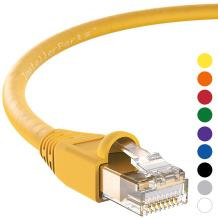 InstallerParts Ethernet Cable CAT6A Cable UTP Booted 7 FT - Yellow - Professional Series - 10Gigabit/Sec Network/High Speed Internet Cable, 550MHZ