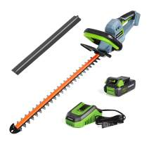 "WORKPRO 20V Cordless Hedge Trimmer, 20"" Dual Action Blades Electric Gardening Tool, 2.0Ah Battery and 1 Hour Quick Charger Included"