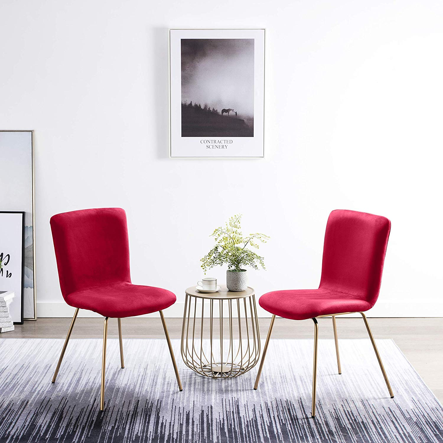 Art-Leon Velvet Dining Chairs, Mid Century Modern Velvet Upholstered Dining Side Chairs with Gold Legs Cute Desk Chairs for Kitchen Living Room Bedroom, Set of 2 (Red)