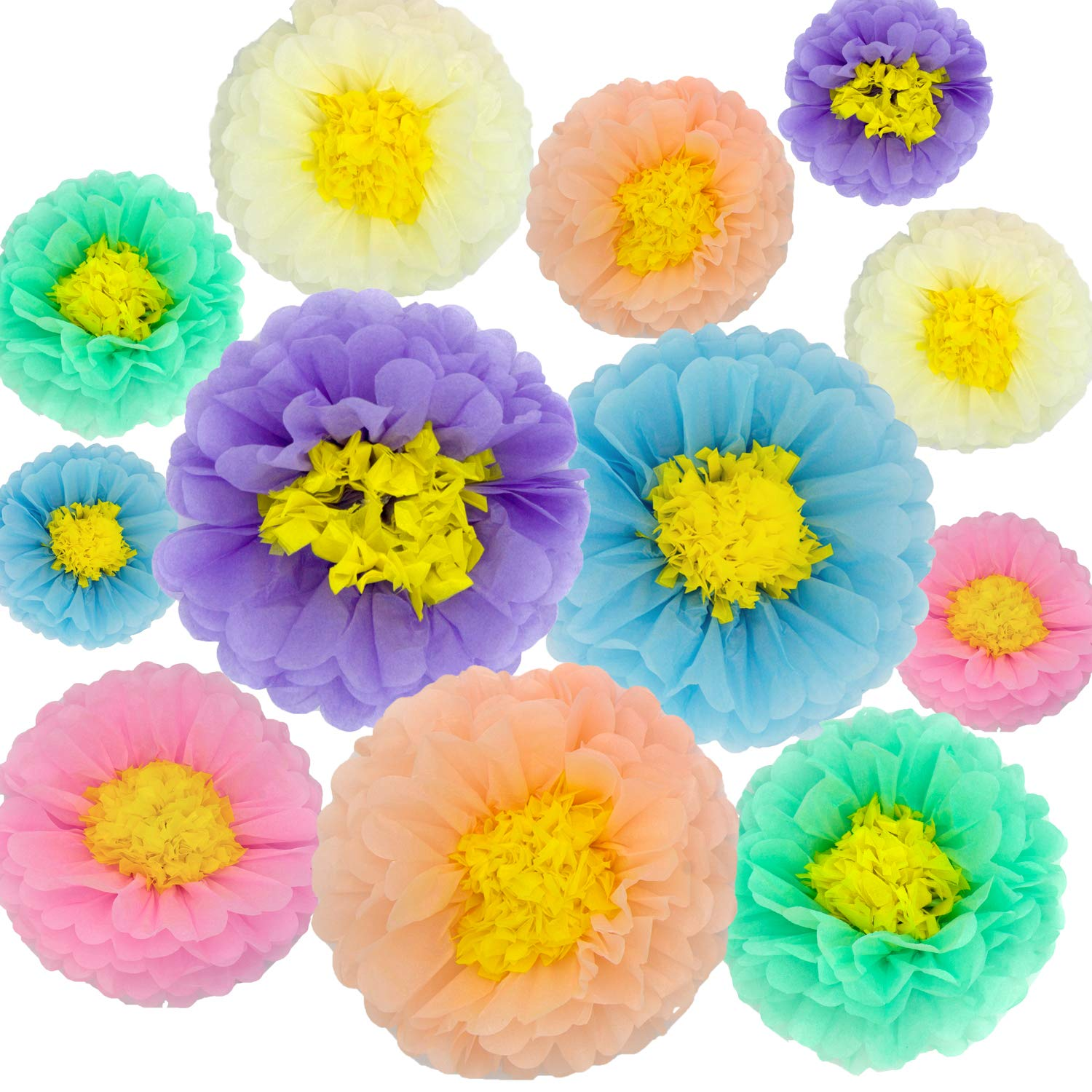 Paper Flowers Decorations,12 Pcs Tissue Paper Flower DIY Crafting for Wedding Backdrop Nursery Wall Baby Shower Decoration