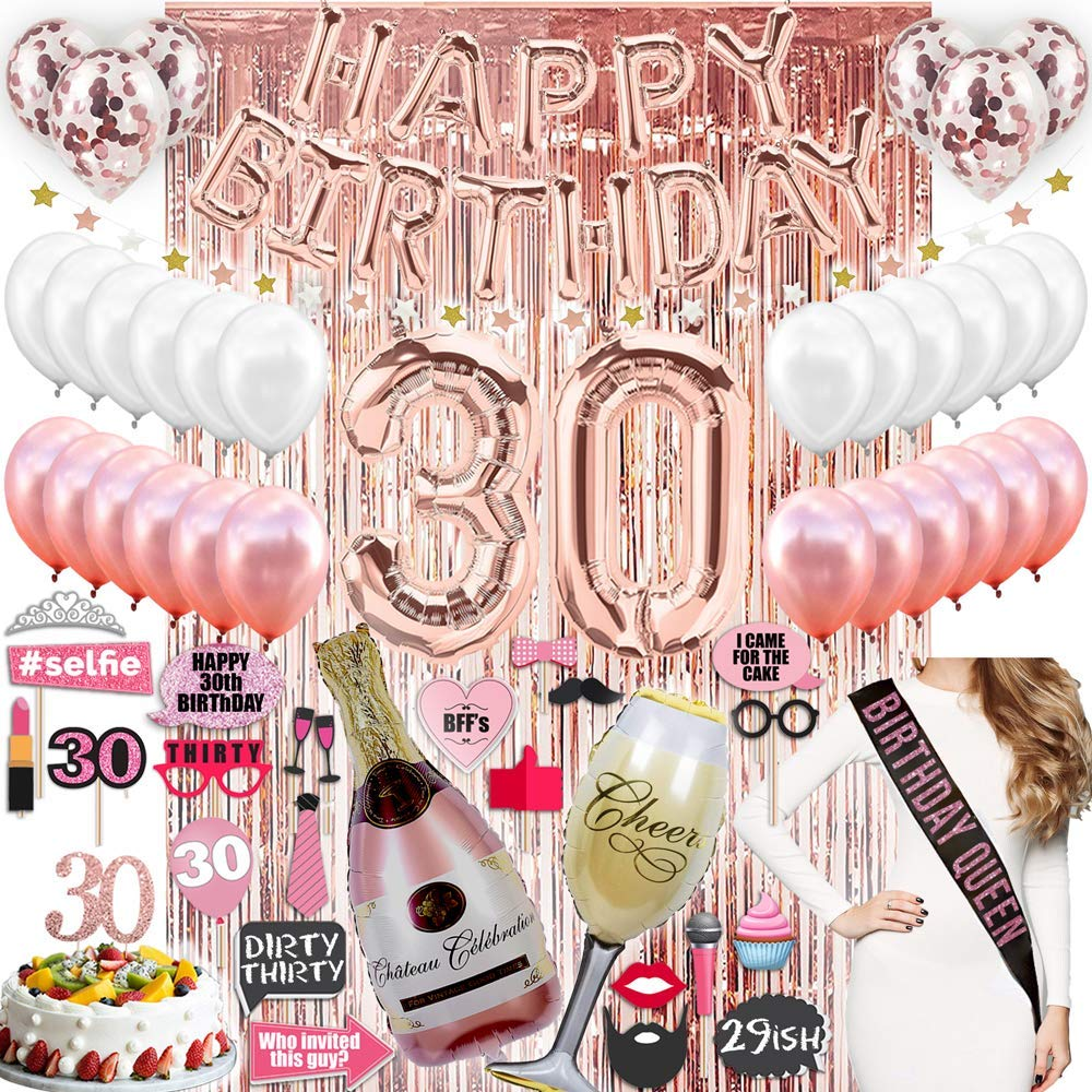 30th Birthday Decorations  with Photo Props 30 Birthday Party Supplies  30 Cake Topper Rose Gold  Banner  Rose Gold Confetti Balloons for her  Dirty Thirty  Silver Curtain Backdrop Props 30th Bday