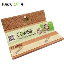 Combie Organic Rolling Paper- 32 King Size Leaves - All Natural Unbleached & Unrefined Better Paper for a Better Rolling Experience with Tips [Pack of 4]
