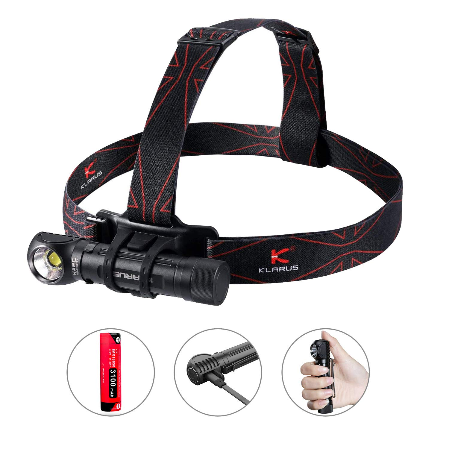 Klarus HA2C 3200 Lumens CREE LED Headlamp Flashlight, USB Rechargeable Multifunctional L-Angle Tool Light with Magnetic Tail Cap for Outdoor Camping Hiking Running Working