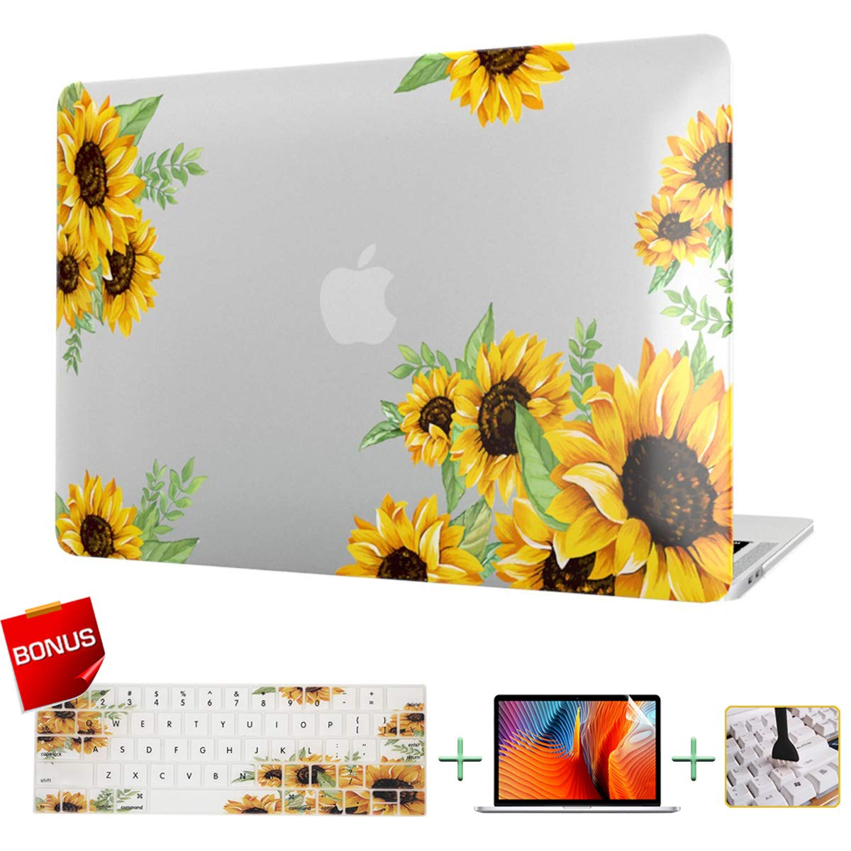 MacBook Case Laptop Case Sunflower Plastic Hard Shell Cover & Keyboard Cover & Screen Protector Only Compatible for MacBook 12 Inches with Retina Display(A1534)