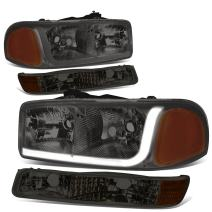 Replacement for 99-07 GMC Sierra/Yukon LED DRL Chrome Smoke Lens Amber Corner Headlight w/Bumper Lights/Lamps - Pair