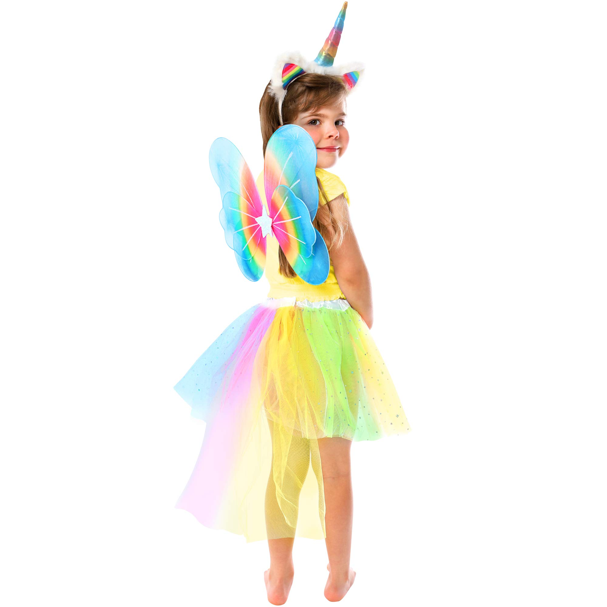 GirlZone: Unicorn Outfit for Girls Dress Up, Includes Unicorn Headband, Rainbow Tutu with Tail & Fairy Wings, Great Gift for Girls