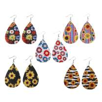 lureme 5 Pairs Sunflower Printed Faux Leather Earrings Lightweight Teardrop Earrings (er006300)