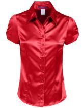 NE PEOPLE Womens Basic Short Sleeve Satin Blouse Top with Waist Tie (S-3XL)