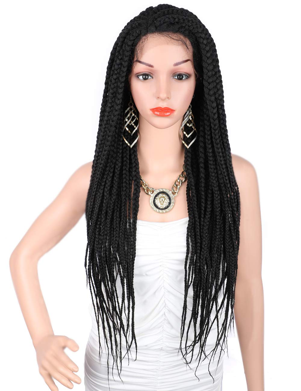 """Kalyss 28"""" Senegal Twisted Braids Lace Front Wigs with Baby Hairs for Black Women Premium Synthetic Black Color Box Braids Natural Looking Side Parting Lace Wigs"""