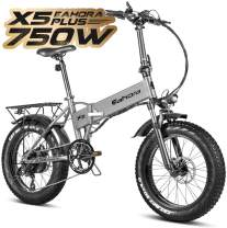 eAhora X5 Plus 750W Fat Tire Folding Electric Bikes for Adults, Front Suspension, Dual Disc Brakes, 48V Beach Snow Commute Electric Bicycle Lithium Battery Smart E-PAS Power Recharge System 7 Speed