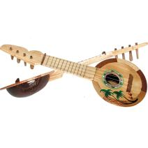 "Beistle Coconut Ukulele 2 Piece Luau Party Supplies, 17"", Brown/Tan/Green/White/Pink"