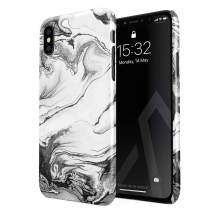 BURGA Phone Case Compatible with iPhone Xs MAX - Silver Flow Water Grey Black and White Marble Cute Case for Girls Thin Design Durable Hard Shell Plastic Protective Case