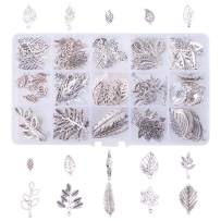 PH PandaHall 150pcs 15 Style Antique Silver Tree Leaf Tibetan Alloy Charms Pendants Beads Charms for DIY Bracelet Necklace Jewelry Making