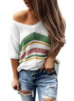 BLENCOT Women's Striped V Neck Knit Short Sleeve Tops Casual Loose Blouse Shirts