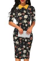 Sakaly Women's Slim Fit Plaid Floral Printed Half Sleeve Formal Body-con Dress Pencil Dresses SK276