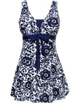 Wantdo Women's One-Piece Oriental Porcelain Slimming Swimsuit Swimdress