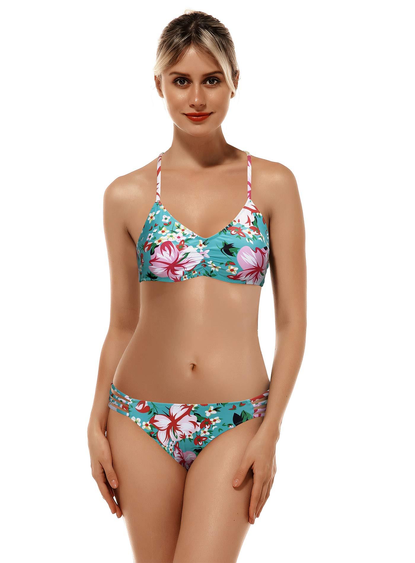 Reteron Women's Strappy Bottom Racerback Bikini Bathing Suits