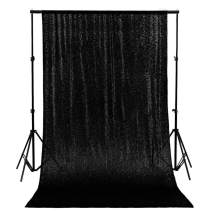 Prom Backgrounds Black Sequin Backdrop 10FTx10FT Bling Curtains with Rod Pockets Photo Booth Photography (120x120-Inch) -190607S (10FTx10FT, Black)