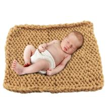 """Play Tailor Chunky Knit Blanket for Newborn Photography Props Baby Photo Backdrop Rugs Newborn Basket Filler (19.7""""x19.7"""", Khaki)"""