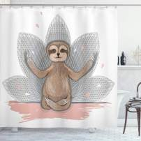"Ambesonne Sloth Shower Curtain, Little Sloth Meditation Lotus Flower Yoga Asana Positions Motivational Fun, Cloth Fabric Bathroom Decor Set with Hooks, 75"" Long, Pink Brown"