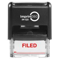 """Supply360 AS-IMP1121R - Filed Stamp with by: Line, Red Ink, Heavy Duty Commerical Self-Inking Rubber Stamp, 9/16"""" x 1-1/2"""" Impression"""