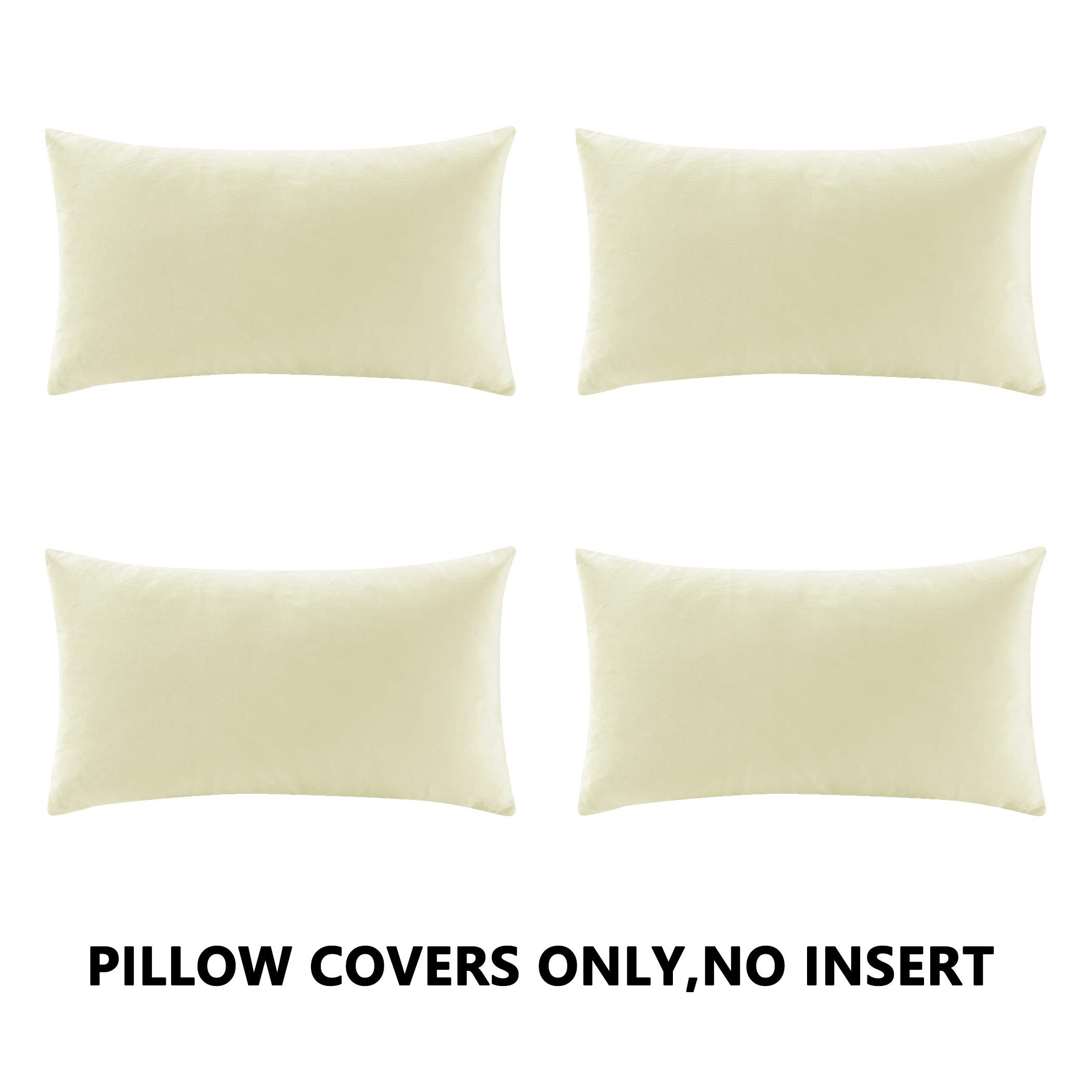 COMFORTLAND New Year/Christmas Decorative Pillow Covers 12x20 Off White: 4 Pack Cozy Soft Velvet Rectangular Throw Pillow Cases for Farmhouse Sofa Couch Bed Chair Home Decor Decorations