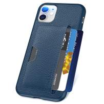 SHIELDON Genuine Leather Cover + Soft TPU Shockproof iPhone 11 Wallet Card Holder Case Drop Protection Bumper Cover Support Wireless Charging Compatible with iPhone 11 (6.1-inch) - Dark Blue