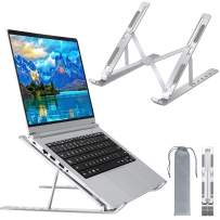 CHEERINGARY Laptop Stand, Laptop Riser Stand Portable Adjustable Aluminium Alloy 6-Level Angle Foldable Book Kickstand, Computer Laptop Stand for All Laptops and Tablets 10 to 15.6 inches, Silver