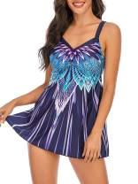 BIKINX Womens Tankini Swimsuit Plus Size Swimdress Tummy Control Two Piece Bathing Suit Swimwear