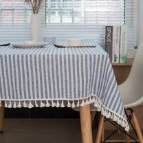 ColorBird Stripe Tassel Tablecloth Cotton Linen Dust-Proof Table Cover for Kitchen Dinning Tabletop Decoration (Rectangle/Oblong, 55 x 102Inch, Blue)