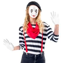 Women's Mime Costume Set with Makeup Kit