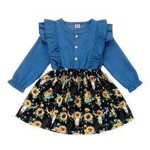 Kislio Baby Girls Infant Ruffle Denim Dress Sunflower Pleated Skirt Stitching Outfits