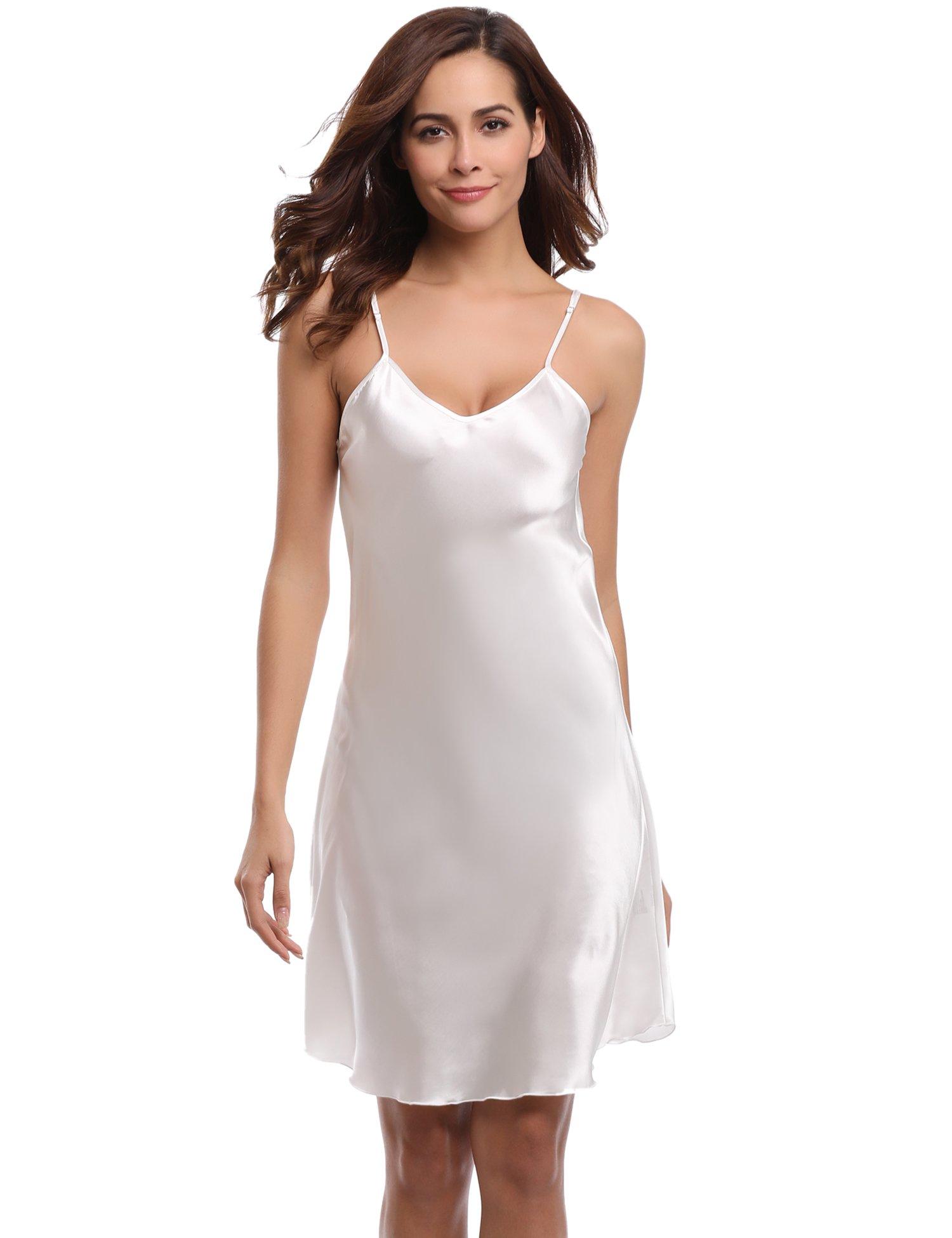 Aiboria Nightgowns for Women Satin Chemise Slip Sleepwear Nightshirt Sexy V Neck Spaghetti Strap