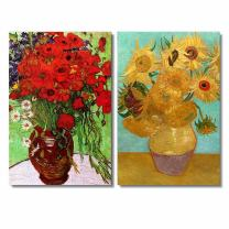 """Famous Oil Painting Reproduction/ Replica Set of 2 - Still Life Vase with Twelve Sunflowers & Red Poppies and Daisies by Van Gogh Canvas Prints Wall Art/Ready to Hang Wrapped Canvas - 16""""x24""""x2 Panels"""