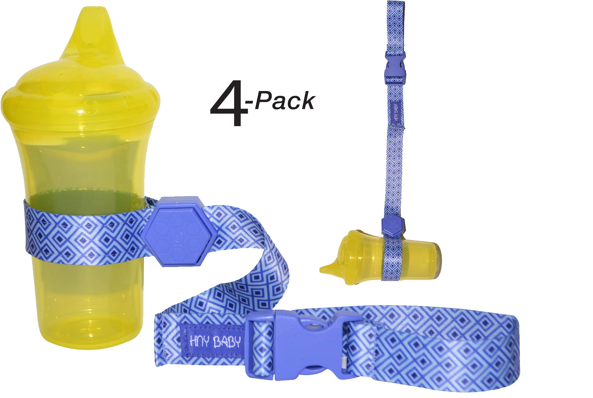 Sippy Cup Straps for Baby Bottle Toy Leash 4 Pack for Stroller High Chair Strap (Blue)