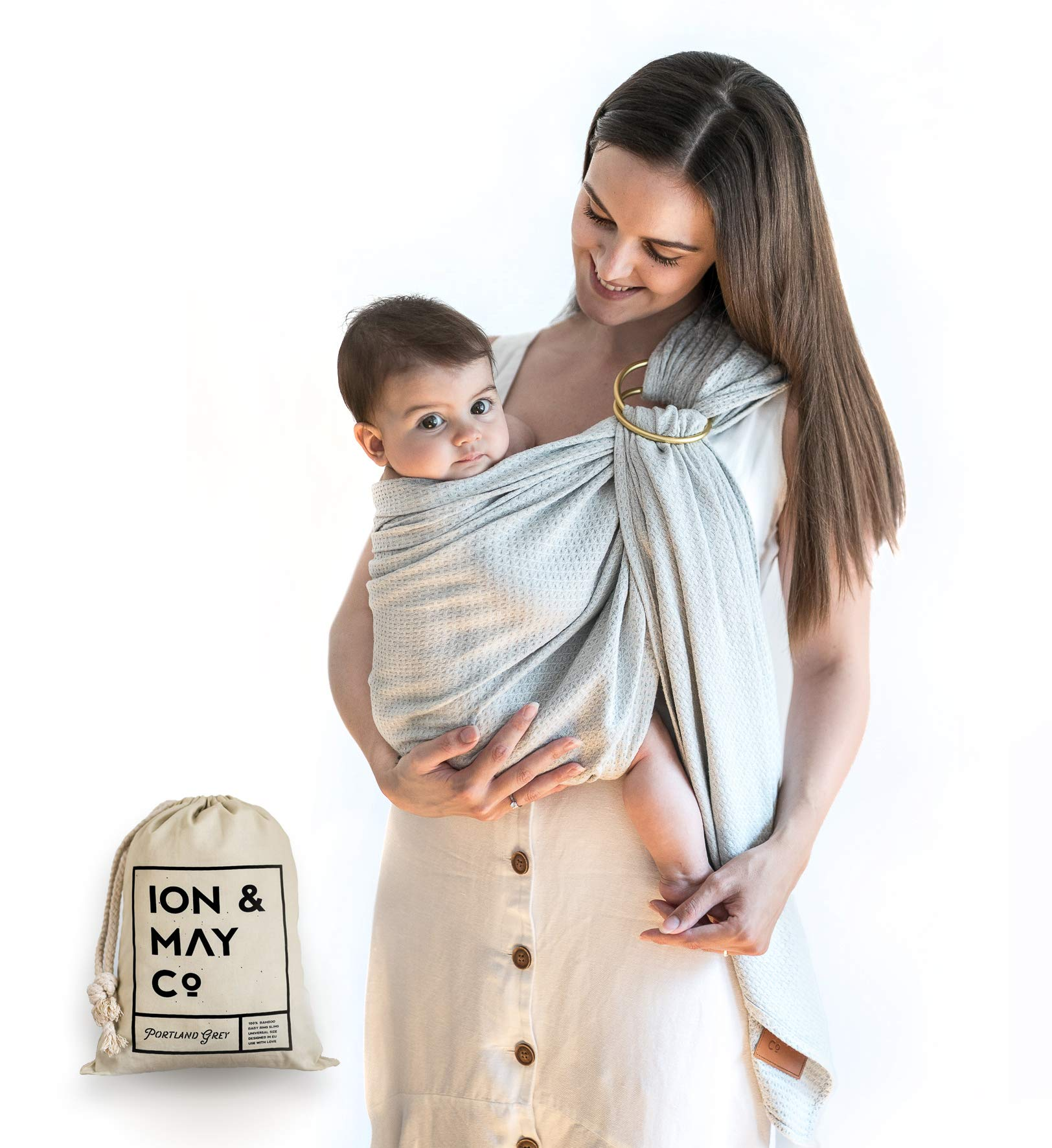 Baby Wrap Carrier Ring Sling by ION & MAY, Natural Pure Bamboo in Portland Grey, Soft and Breathable for Parents-On-The-Go, Neutral Shower Gift, Breastfeeding Cover, Stored in Pouch