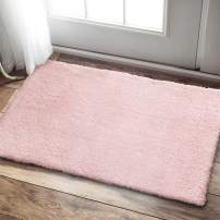 """jinchan Soft Plush Doormat for Kid's Room Luxe Area RugCozy Solid Shag Rug for Living Room Fluffy Warm for Girls Indoor Mat Modern Floorcover 2'x 3'3"""" Blush Pink"""