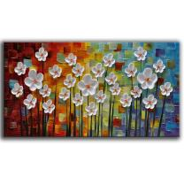 "YaSheng Art - Hand Painted Contemporary Art Oil Painting On Canvas Texture Abstract Flowers Artwork Paintings Home Interior Decor Wall Art Wall Art for Living Room Ready to Hang 20""x40""inch"