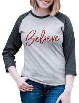 7 at 9 Apparel Women's Believe Christmas Raglan Tee