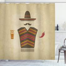 "Lunarable Mustache Shower Curtain, Mexican Conceptual Elements of Tequila with Lime Poncho and Chili Pepper, Cloth Fabric Bathroom Decor Set with Hooks, 75"" Long, Pale Cream"