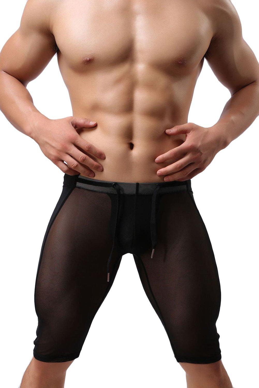 sandbank Men's Compression Sports Tight Shorts Mesh Workout Swim Gym Short Pants